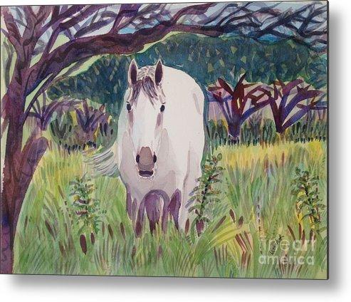 Horse Metal Print featuring the painting En El Bosque by Virginia Vovchuk