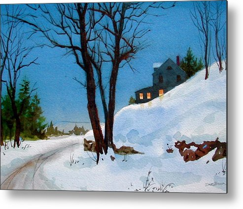 Snow Metal Print featuring the painting Evening Snow by Faye Ziegler