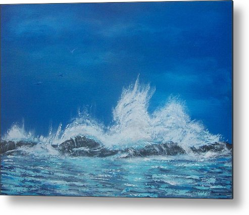 Seascape Metal Print featuring the painting Explosive Waves by Tony Rodriguez
