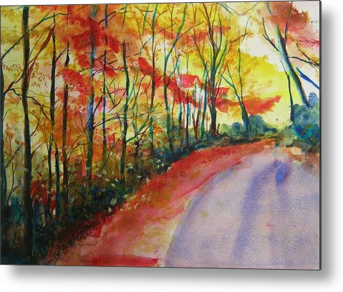 Abstract Landscape Metal Print featuring the painting Fall Abstract by Lizzy Forrester