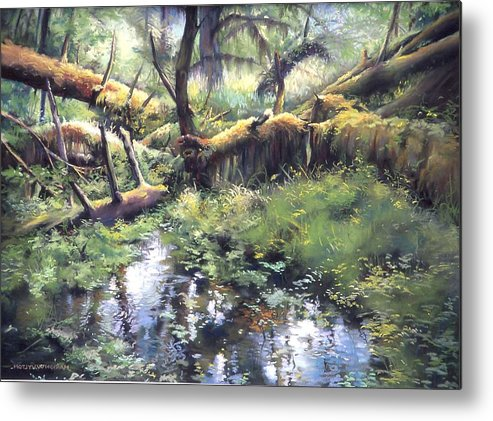 Trees Metal Print featuring the painting Fallen Giants by Marion Hylton