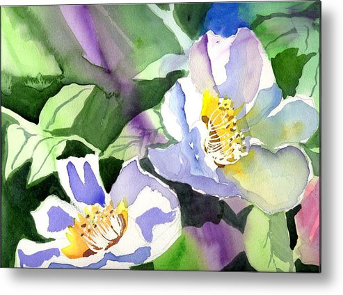 Floral Metal Print featuring the painting Fancy Flowers by Janet Doggett