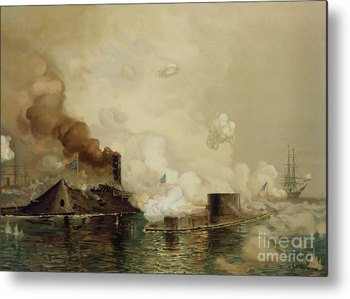 Armored; Warships; Battle; Facsimile Print; Naval; John Ericsson; Turret; Boat Metal Print featuring the painting First Fight Between Ironclads by Julian Oliver Davidson