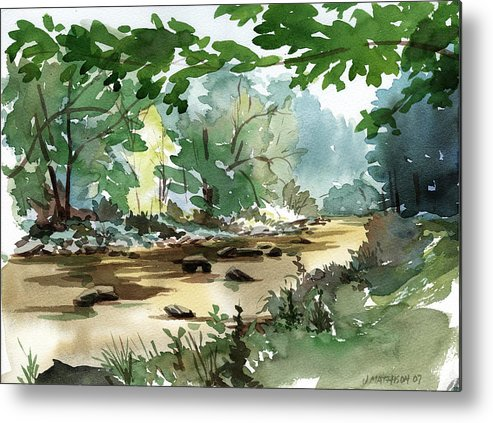 Fly Fishing Stream Metal Print featuring the painting Fisherman's Paradise by Jeff Mathison