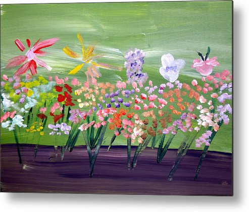Flowers Metal Print featuring the painting Flower Garden by Jeff Caturano