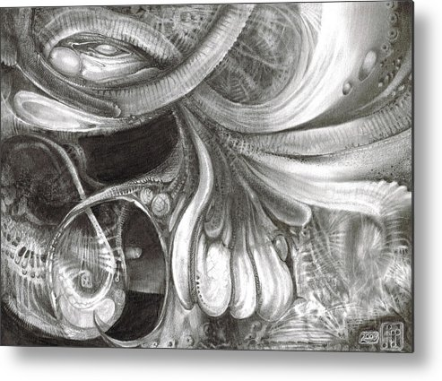 Metal Print featuring the drawing Fomorii Pod by Otto Rapp