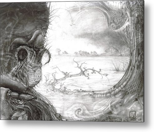 Fomorii Metal Print featuring the drawing Fomorii Swamp by Otto Rapp