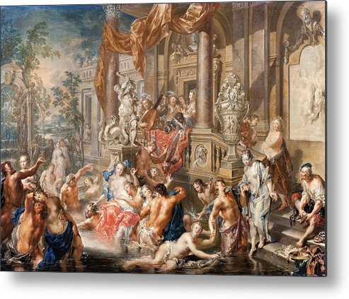 Johann Georg Platzer Metal Print featuring the painting Fountain Scene In Front Of A Palace by Johann Georg Platzer