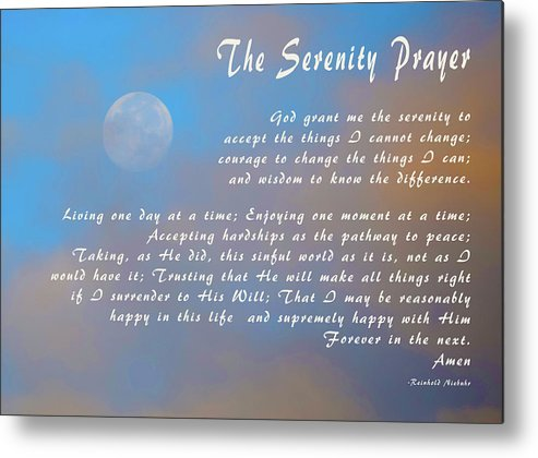 graphic relating to Serenity Prayer Printable referred to as Total Moon Serenity Prayer Steel Print