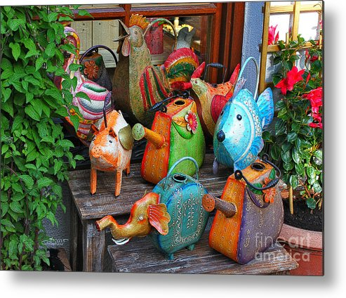 Watering Can Metal Print featuring the photograph Funny Watering Cans by Jutta Maria Pusl
