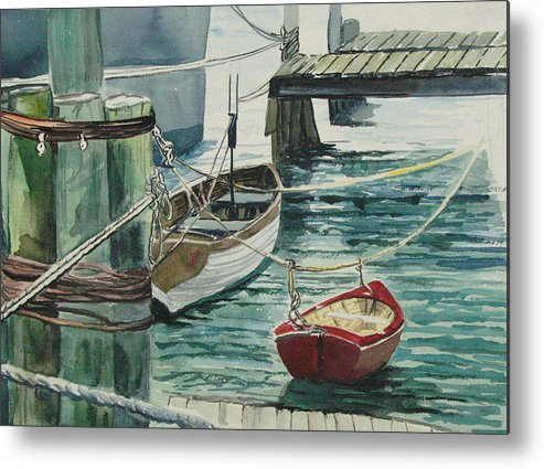 Galveston Metal Print featuring the painting Galveston Boats Watercolor by Judy Loper