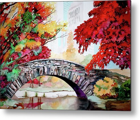 Gapstow Metal Print featuring the painting Gapstow Bridge I by Jelly Starnes