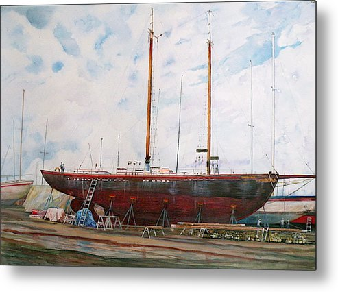 Ship Metal Print featuring the painting Genevieve by Wendy Hill