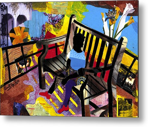 Everett Spruill Metal Print featuring the painting Girl In Red Shoes by Everett Spruill