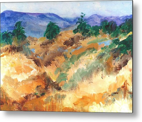 High Metal Print featuring the painting Gorman Pass 105 Degrees by Randy Sprout