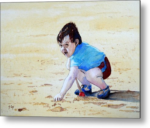 Figure. Boy. Sand. Beach. Play. Child. Digging. Metal Print featuring the painting Graham On The Sand by John Cox