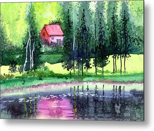 Landscape Metal Print featuring the painting Guest House by Anil Nene