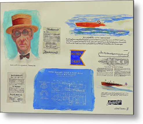 Paintings Metal Print featuring the painting Hacker Boat Poster by Robert P Hedden