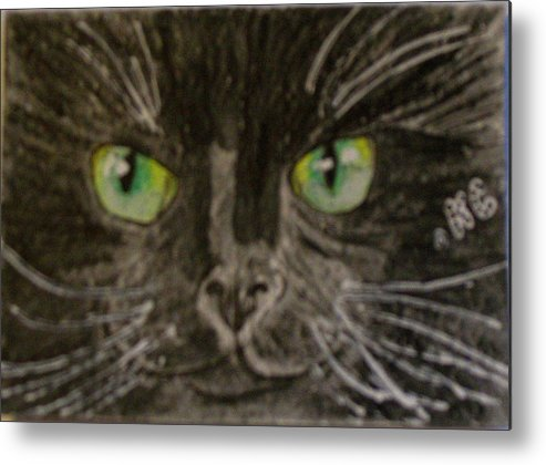 Halloween Metal Print featuring the painting Halloween Black Cat I by Kathy Marrs Chandler