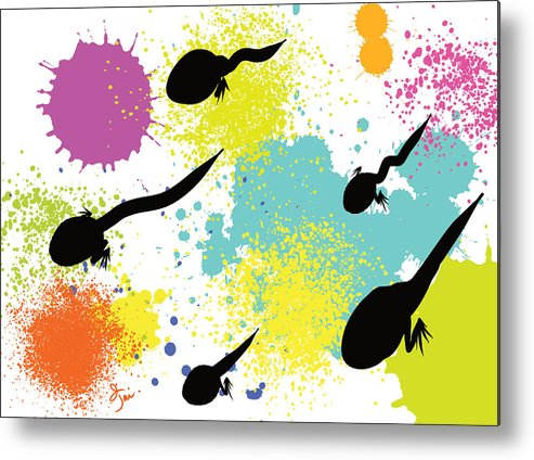 Frogs Metal Print featuring the painting Happy Tadpoles by Oiyee At Oystudio