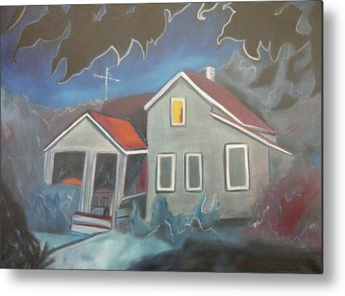 Home Metal Print featuring the painting Haunted House by Suzanne Marie Leclair