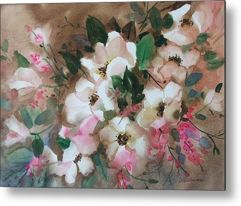 Spring Flowers Metal Print featuring the painting Hawthorne Beauties by Dianna Willman