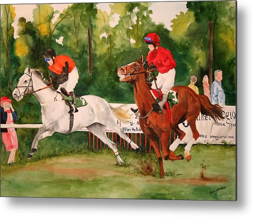 Racing Metal Print featuring the painting Homestretch by Jean Blackmer