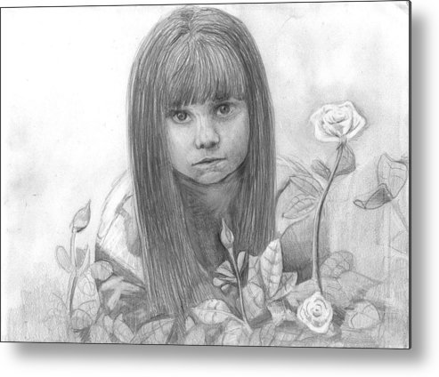 Little Girl Roses Metal Print featuring the drawing Innocence by Katie Alfonsi