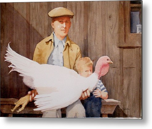 Farmer Metal Print featuring the painting Ivan And Two Toms by Faye Ziegler
