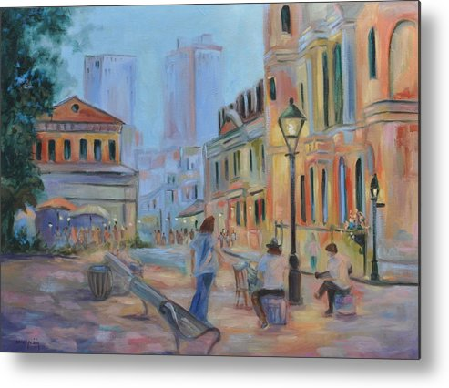 New Orleans Metal Print featuring the painting Jackson Square Musicians by Ginger Concepcion