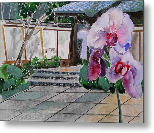 Garden Metal Print featuring the painting Japanese Garden by Evguenia Men