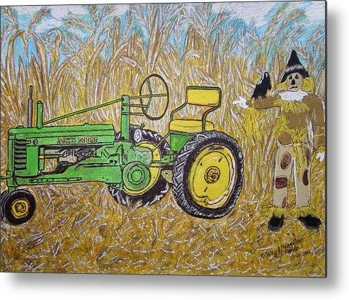 John Deere Metal Print featuring the painting John Deere Tractor And The Scarecrow by Kathy Marrs Chandler