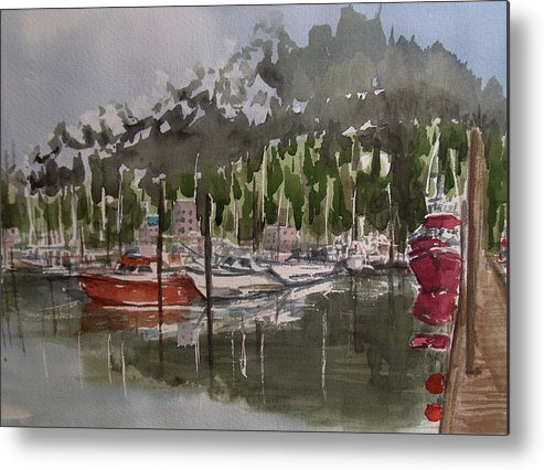 Marina Metal Print featuring the painting Ketchican Marina by Pete Maier