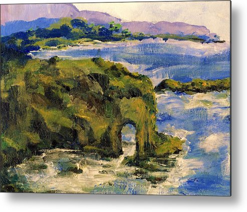 Ocean Metal Print featuring the painting Key Hole Arch Bright Sun by Randy Sprout