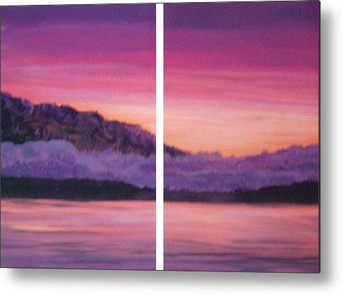 Calm Bright Landscape Mountains Water Metal Print featuring the painting Kiss Today Goodbye by Sally Van Driest