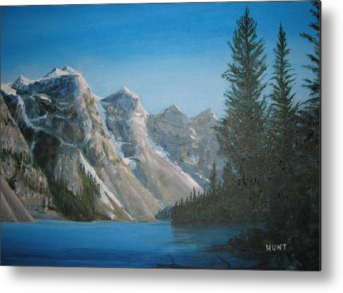 Landscape Metal Print featuring the painting Lake Moraine by Shirley Braithwaite Hunt