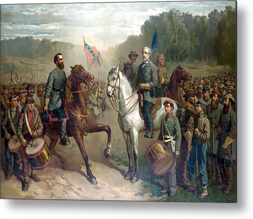 Robert E Lee Metal Print featuring the painting Last Meeting Of Lee And Jackson by War Is Hell Store