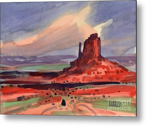 Left Mitten Metal Print featuring the painting Left Mitten At Sunset by Donald Maier