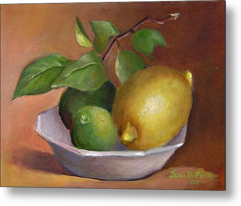 Still Life Metal Print featuring the painting Lemon And Limes Still Life by Joni Dipirro
