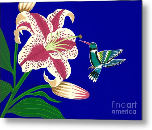 Nature Metal Print featuring the drawing Lily And Hummingbird by Lucyna A M Green