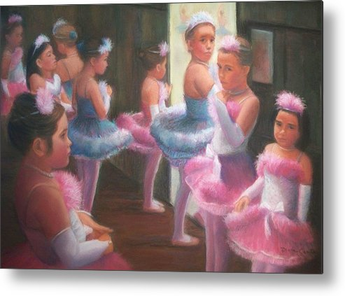Ballet Metal Print featuring the pastel Little Ballerinas Backstage At The Recital by Diane Caudle