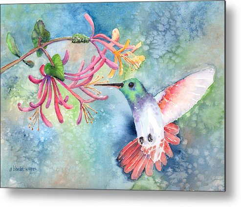 Bird Metal Print featuring the painting Little Hummingbird by Arline Wagner
