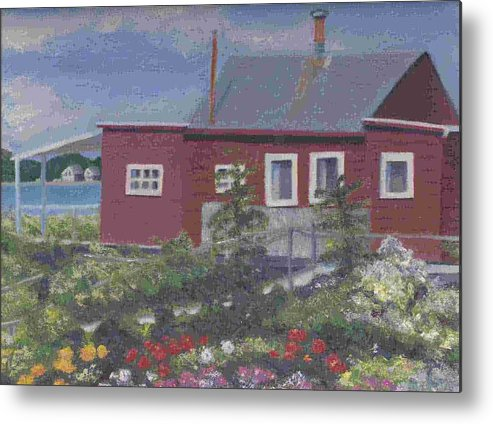 Seascape Metal Print featuring the painting Lobster Shack At Fenwick by Paula Emery