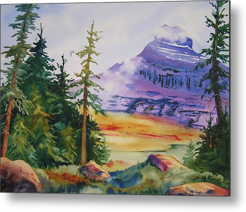 Landscape Metal Print featuring the painting Logan Pass by Karen Stark
