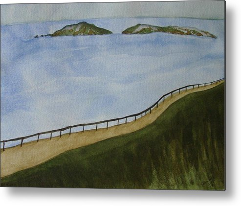 Landscape Metal Print featuring the painting Look To The Islands by Liz Vernand