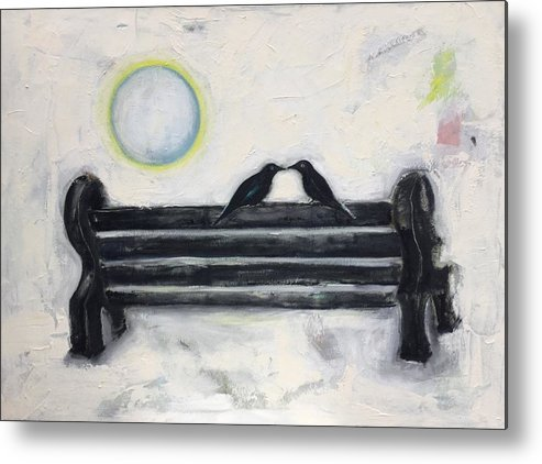 Ravens Metal Print featuring the painting Love On A Bench by Cindy Moore Caird
