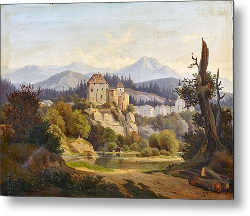 Nature Metal Print featuring the painting Lunde, Anders Christian Copenhagen 1809 - 1886 Grotta Ferrata. Oil On Canvas. Relined by Lunde Anders Christian