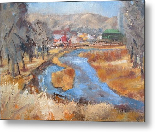 Landscape Metal Print featuring the painting Marias Ranch by Bryan Alexander