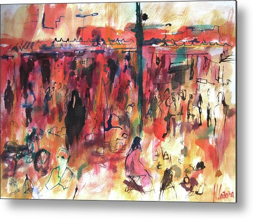 Watercolor Metal Print featuring the painting Marrakech Market by Miquel Cazanya