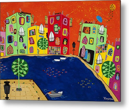 Fishing Metal Print featuring the painting Meeting Place by Tamara Kusovac
